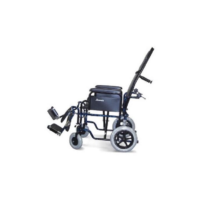 Scaun cu rotile pliabil cu cadru din aliaj metalic cu spatar inclinat